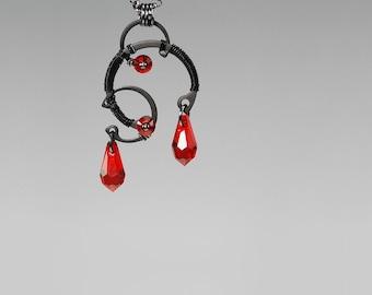 Red Swarovski Crystal Industrial Pendant, Light Siam Swarovski Crystals, Swarovski Necklace, Red Crystal Pendant, Space, Erinome v6