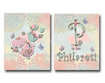 Pink nursery decor baby girl room decor kids wall art children room decor nursery art kids artwork children room art baby custom name art
