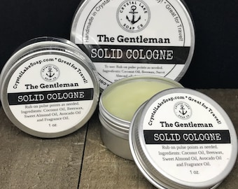 The GENTLEMAN  Solid Cologne Tin - Great for Travel, Work, Gym & Pocket.  Masculine or Unisex Cologne