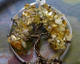 Nobember Birthstone Tree of Life Necklac,Citrine Tree of Life Pendant- Wire Wrapped Citrine Necklace- November Birthstone - Birthday Gift