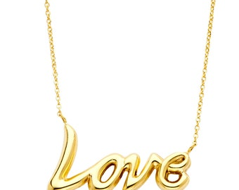 14K Solid Yellow Gold Cursive Love Pendant Necklace 1.6 gr