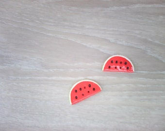 Set of 2 slices of watermelon decorative floral design