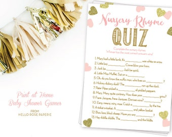 Pink and Gold Baby Shower Games Printable . Nursery Rhyme Quiz Game . Instant Download . Baby Shower Game Girl . Glitter Hearts Confetti
