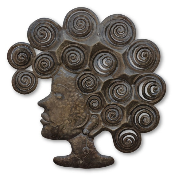 Woman With Curls, Quality Handmade Metal Art, One-of-a-Kind Sculpture 23 x 22