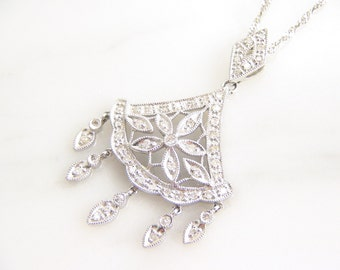 Vintage 14K White Gold Diamond Pendant Necklace - 18 Inch Rope Chain