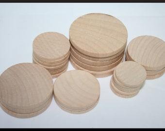 Various Wooden Round Circles- You Choose Your Size and Quantity, Wood Circle Cutouts, Wooden Circles, Wood Crafts