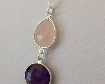Sterling Silver Multi-Shaped Drop Pendant featuring Rose Quartz & Amethyst with a Sterling Silver Necklace