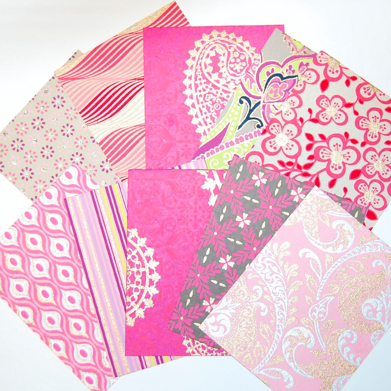 Shades Of Pink Rose And Gold Fine Paper Pack: 10 Metallic And