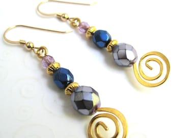 Colorful Czech Bead Earrings, Hammered Metal Swirl Earrings, Spiral Drop Earrings, Whimsical Earrings, Beaded Fashion Jewelry
