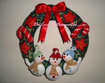 Christmas Wreath Ornament in Handmade Felt