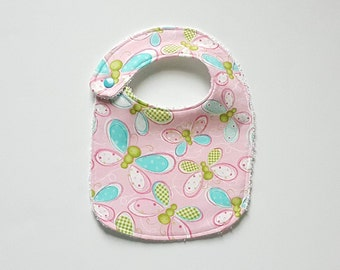 Butterfly Bib; Pink Butterfly Cotton Bib; Pink Baby Bib; Butterfly Baby Bib