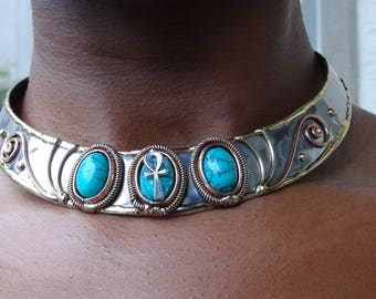 Awesome Chocker with Small Ankh with 3 Green Agate Gemstones #Egyptian Jewelry #Ankh #Afrocentric #Nubian Jewelry #Egypt #Nubia #Kemetic