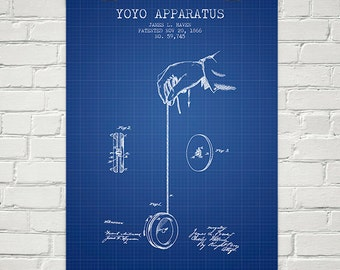 1866 Yoyo Patent Wall Art Poster, Home Decor, Gift Idea