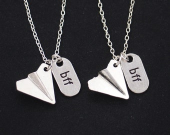 set of two necklaces, sterling silver filled, one direction,Harry styles,friendship jewelry,paper airplane necklace,bff,best friends forever