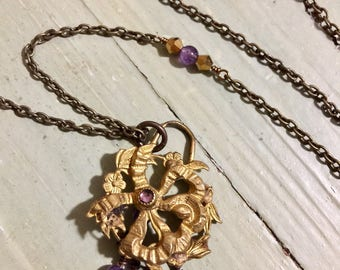Assemblage jewelry   Amethyst Gemstone Adorn Antique Brass Brooch Pendant Necklace