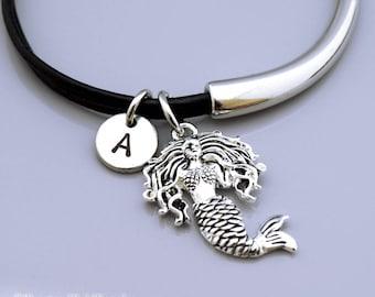 Mermaid charm Bangle, Mermaid charm bracelet, Siren, Siren of Sea, Mermaid jewelry, Leather bracelet, Leather bangle, Personalized bracelet
