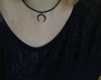 Pyrite Crescent Necklace