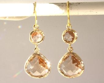 Dangle Earrings Gold Earrings, blush earrings Bridesmaids Earrings, Bridesmaid gifts, Champagne Earrings, Birthday Gift, Best Friend Gift