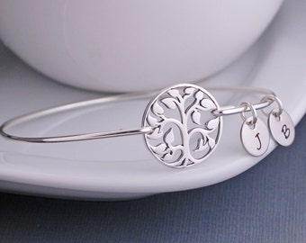 Grandmother Jewelry, Sterling Silver Family Tree Jewelry, Mother's Day Gift for Grandma, Holiday Jewelry Gift for Wife, Bangle Bracelet