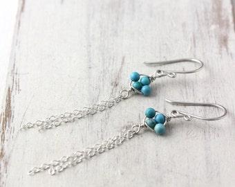 Turquoise Tassel Silver Earrings