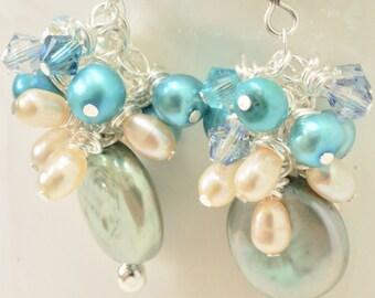 Teal Earrings, Turquoise Earrings, Aqua Earrings, Sterling Silver and Pearl Earrings, Formal Earrings, Black Tie,  Bridesmaid Earrings