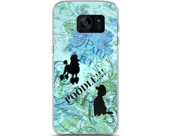 Paris Poodle Dog Blue Floral Dog Lovers French Poodles Cell Phone Case Samsung Galaxy S7, S8, S8+, S7 Edge