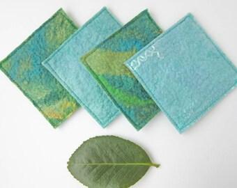 Blue and Green Drink Coasters - Wool Felt Mug Coasters - Fabric Coasters - Holiday Gift Ideas