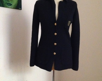 Navy Military Style Golden Button Blazer Blue Knit Cardigan Small Medium