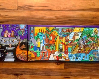 """Multiverse Battery Print! 25""""x9"""" Rick and Morty print on high end, 100 pound paper!"""