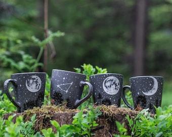 Personalized moon forest constellation mug, Full moon constellation mug, Hand painted crescent moon birthday mug gift, Starry night mug