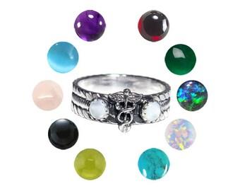 Sterling Silver Medical Caduceus Gemstone Ring (choose your gemstone)