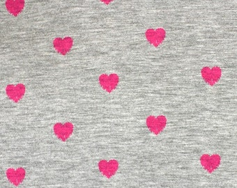 Pink Hearts on Heather Gray Knit Fabric