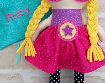 CUSTOM MADE**Personalised Superhero Girl  Doll Handmade - Softie First Birthday Cloth Rag Doll - Child Friendly- dolly dress up