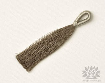 T020-KK// Khaki Rayon Knotted Loop Top Tassel Pendant, 2pcs, 83mm