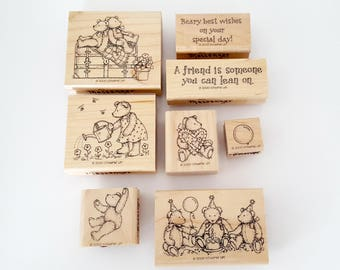 Stampin Up Beary Best, Teddy Bear Stamps, Stampin' Up Retired Stamps, Birthday Bear Stamps, Set of Stamps, Bears Stamp, Friendship Stamps