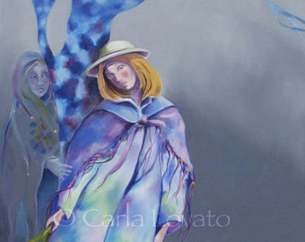 Surreal painting, Wall art, Original oil painting, oil on canvas, Tarot, spiritual, mystical, emotional, blue gray purple