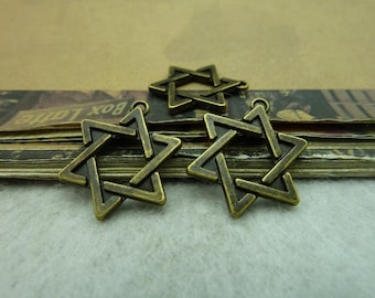 20 Star of David Charms Antique Bronze Tone - WS6260