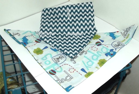 CLEARANCE SALE 50% OFFPuppy Bows~2 over the collar dog pet bandana teal blue zig zag ~US Seller