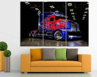 Semi Truck canvas Semi Truck print Truck decor Truck decor Truck canvas Dumper truck wall art Boy room decor Construction canvas