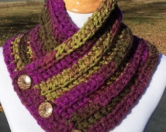 Crochet Cowl, Boston Harbor Scarf, Bulky Crochet Cowl, Chunky Cowl with Buttons, Neck Warmer, Gift For Her, Handmade, Purple, Brown, Green