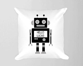Robot Personalized Pillow Nursery, Boy Room Robot Decor, Boy Name Pillow, Gender Neutral Decor , Kids Pillow Decor, Boy Nursery Black White