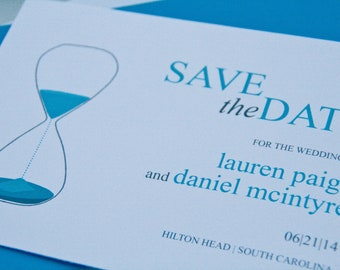 Modern Save the Date Wedding Hourglass Invitation Bridal Shower Invitation Set of 10 by Belleza e Luce
