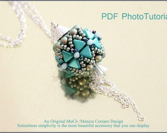 DIY Photo Tutorial Eng-ITA ,*Kheopsead* pendant ,PDF Pattern 73 with kheops,pearls,swarovski and seed beads,instructions,bead weaving