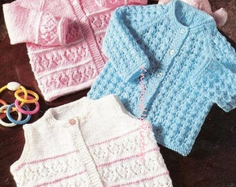 Baby Knitting Pattern pdf Matinee Coats and Waistcoat