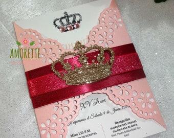 Invitations Crown Princess, XV years, wedding, baptisms, presentations