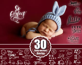 30 Baby  Newborn Photo Overlays, baby Word Art, Baby Milestone Months, baby text, Scrapbooking, INSTANT DOWNLOAD, png file