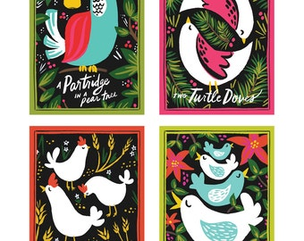 Twelve Days of Christmas Postcards, Set of 12