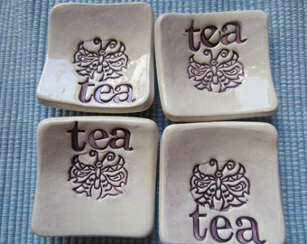 Four Sweet Purple and White Butterfly Tea Bag Holders