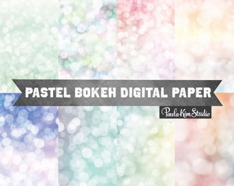 Pastel Bokeh Overlay Digital Paper Pack, Pastel Background Image Download, Commercial Use