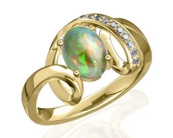 8x6mm Australian Black Opal Ring w/ 0.05ct Diamond in 14K or 18K Gold SKU: R2388